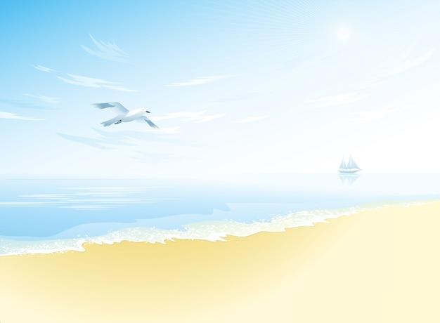 Vista sul mare con superficie ondulata del mare, cielo nuvoloso, gabbiano in volo