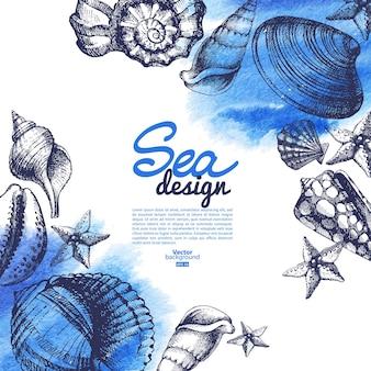 Sfondo di conchiglia. design nautico di mare. schizzo disegnato a mano e illustrazione vettoriale ad acquerello