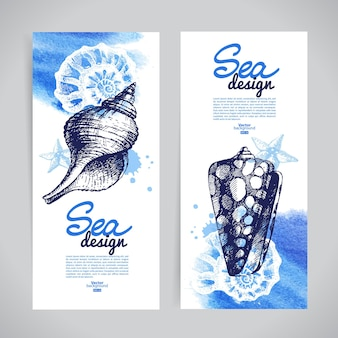 Banner di conchiglie. design nautico di mare. schizzo disegnato a mano e illustrazioni ad acquerello