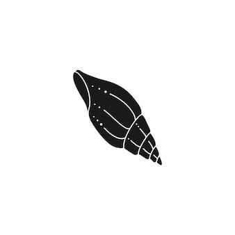 Icona di contorno di conchiglia in uno stile minimal alla moda. illustrazione vettoriale di un guscio a spirale per sito web, stampa di t-shirt, tatuaggi, post sui social media e storie