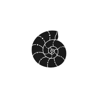 Contorno di conchiglie in uno stile minimal alla moda. illustrazione vettoriale di un nautilus per logo, sito web, stampa di t-shirt, tatuaggi, post sui social media e storie