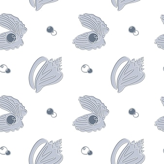 Seashell seamless pattern in un disegno a tratteggio. fondo nautico dell'oceano di vettore disegnato a mano con conchiglie e perle. perfetto per tessuti, carta da parati e stampe