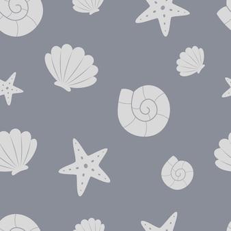 Stelle marine di conchiglie su uno sfondo grigio modello marino senza cuciture