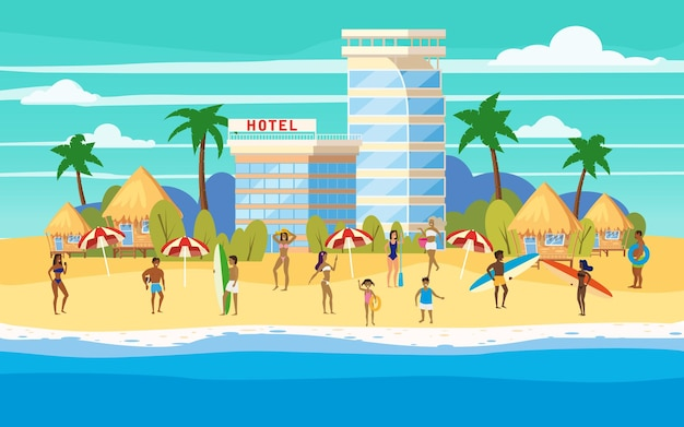 Seashore beach hotel resort bungalo, vacanze estive
