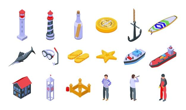 Le icone del mare hanno messo il vettore isometrico. spiaggia estiva. località di mare