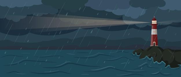 Paesaggio balneare con faro nella notte tempestosa