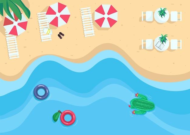 Illustrazione di colore piatto località balneare. spiaggia turistica in sabbia con ombrelloni