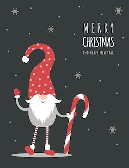 Auguri di stagione. biglietto natalizio scandinavo. simpatico gnomo con cappello rosso.