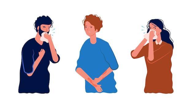 Allergia stagionale. persone allergiche, graffi sulla pelle, tosse e starnuti.