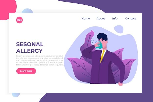 Illustrazione di allergia stagionale. uomo dell'ufficio con sintomi di allergia - pagina di destinazione della salute, modello di banner