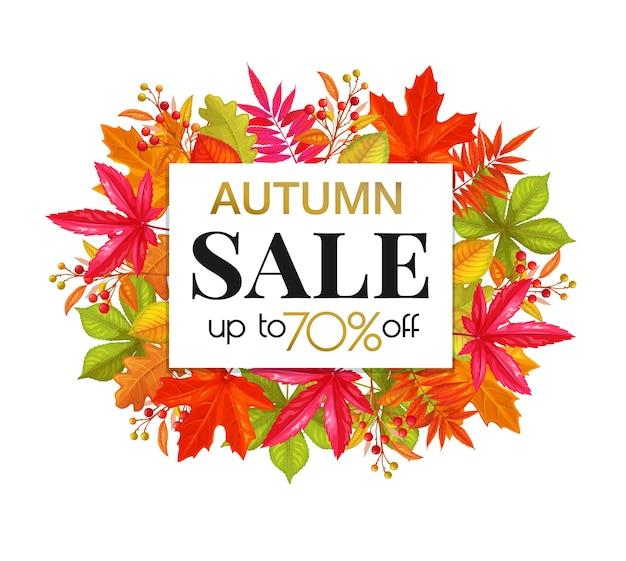 Banner di vendita autunnale stagionale con fogliame autunnale di acero, quercia, olmo, castagno e bacche autunnali, design di promozione della stagione autunnale.