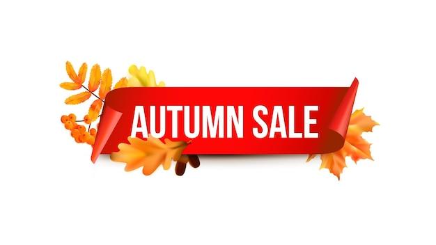 Modello di vendita stagionale autunnale. foglie colorate realistiche. etichetta di vendita. autoadesivi di vendita di vettore.