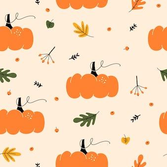Modello senza cuciture autunno stagionale con con zucche, bacche e foglie.