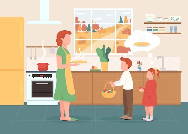 Illustrazione di colore piatto di ossequio al forno stagionale