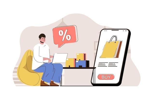 Concetto di sconto stagionale uomo che acquista merci in vendita utilizzando laptop