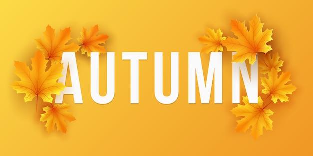 Banner di caduta stagionale con foglie di acero su sfondo arancione. modello festivo per progettare il tuo annuncio.