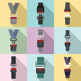 Set di icone di cintura di sicurezza, stile piano