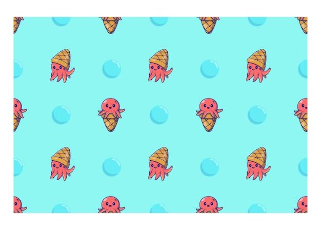 Seathemed modello senza cuciture polpo e cono gelato illustrazione vettoriale design