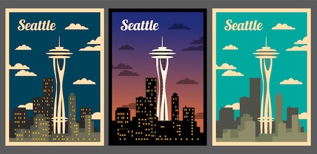 Skyline della città di seattle. poster retrò della città