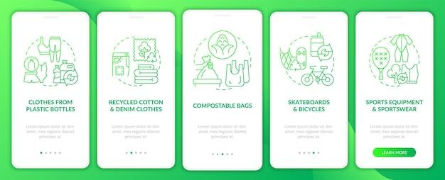 Schermata della pagina dell'app mobile onboarding dei materiali secondari. procedura dettagliata per il riciclaggio dei rifiuti 5 istruzioni grafiche con concetti. modello vettoriale ui, ux, gui con illustrazioni a colori lineari