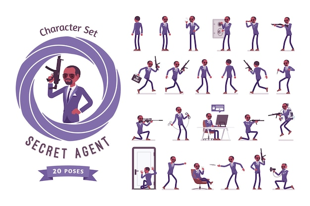 Set di caratteri uomo nero agente segreto