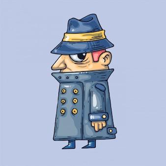 Agente segreto in un cappotto. illustrazione creativa arte del fumetto per il web e la stampa.