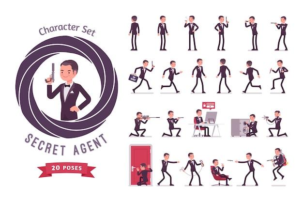 Set di creazione del personaggio di agente segreto uomo