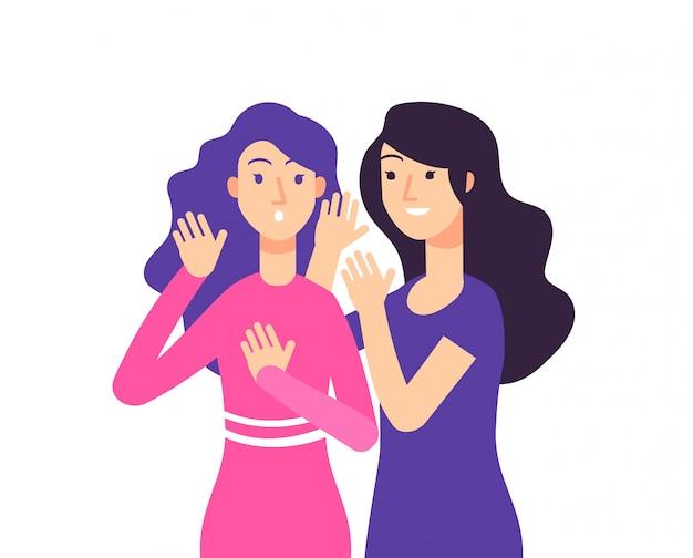 Segreto. voce femminile che parla pettegolezzi donna sussurra pettegolezzi sorpreso signora sussurro segreto