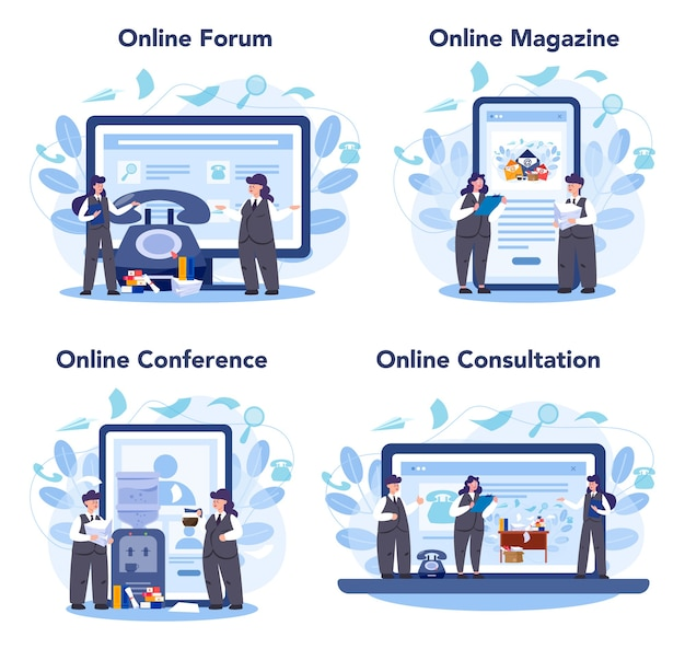 Servizio online di segreteria o set di piattaforme. receptionist che risponde alle chiamate e assiste con il documento. forum online, rivista, conferenza, consultazione.