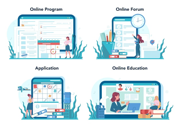 Servizio online di segreteria o set di piattaforme. receptionist che risponde alle chiamate e assiste con il documento. programma online, forum, applicazione, istruzione.