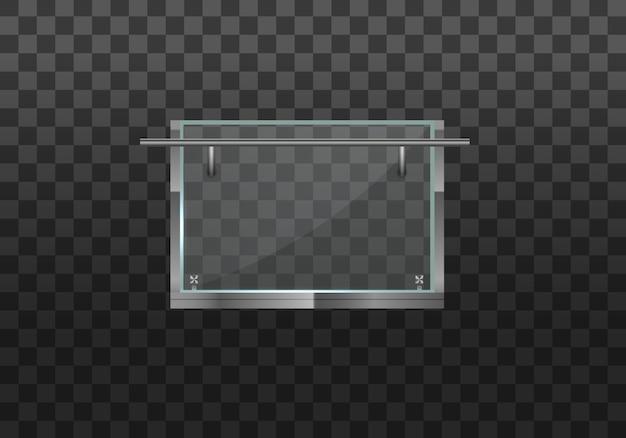 Sezione di recinzioni in vetro con ringhiera tubolare in metallo e lastre trasparenti per scale di casa, balcone di casa. balaustra in vetro con ringhiera in metallo. ringhiera o sezioni di recinzione con pilastri in acciaio.