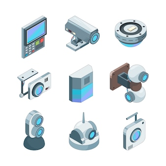 Cam isometrica sicura. illustrazioni dei sistemi elettronici delle videocamere di sicurezza domestiche del cctv