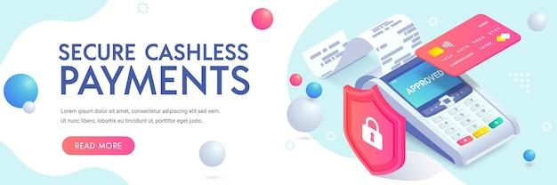 Banner isometrico di protezione del pagamento senza contanti sicuro. concetto di sicurezza dei pagamenti nfc senza contatto.