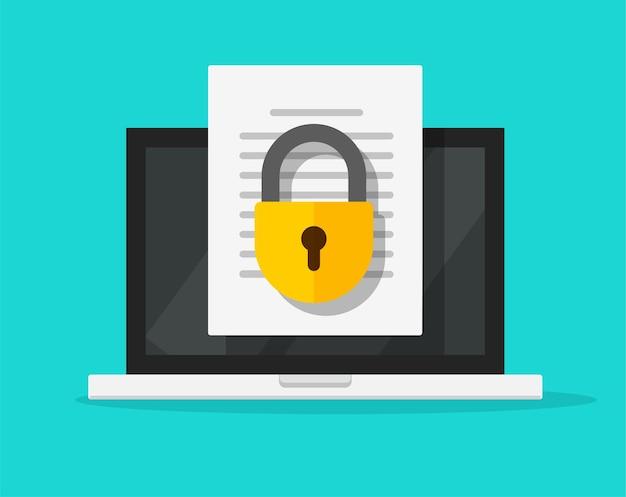 Proteggere l'accesso online al documento confidenziale digitale con serratura privata sull'icona piana di vettore del file di testo del computer portatile