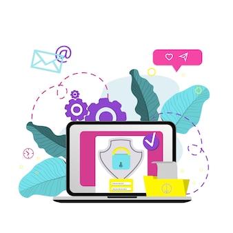 Account di accesso sicuro. accesso all'interfaccia utente, registrazione dell'account, autorizzazione all'accesso al sito, protezione e sicurezza online. illustrazione di disegno vettoriale piatto.