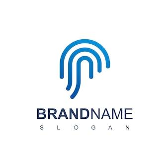 Logo sicuro con il simbolo dell'impronta digitale