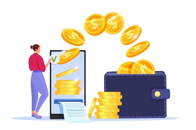 Pagamento mobile sicuro, trasferimento di denaro o concetto di finanza online con smartphone, donna, monete volanti, portafoglio.