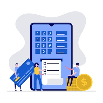 Trasferimento di denaro sicuro sul concetto di internet con carattere. persone che utilizzano smartphone e carta di credito.