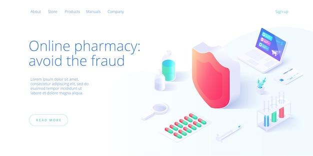 Assicurare il concetto di acquisto in linea della farmacia o della farmacia in illustrazione isometrica.