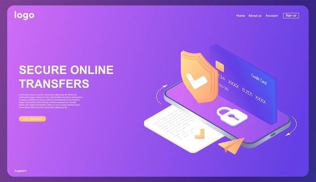 Trasferimenti online sicuri conto bancario online protezione dati database isometrico con server cloud