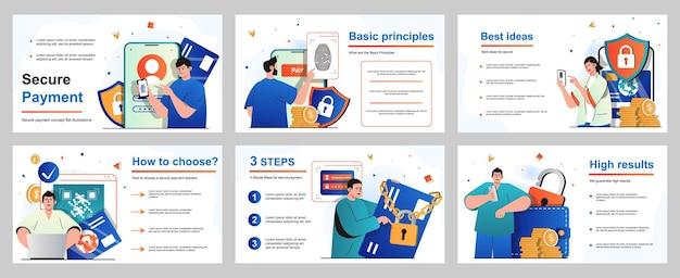 Concetto di pagamento sicuro per il modello di diapositiva di presentazione persone che pagano per beni e servizi
