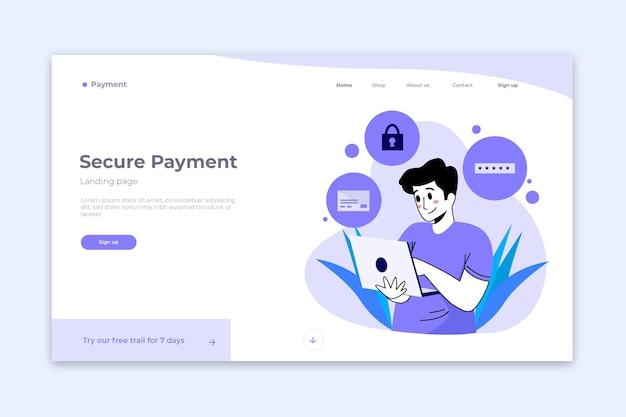 Concetto di pagina di destinazione pagamento sicuro