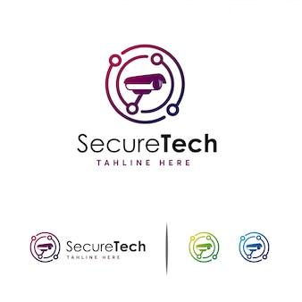Logo secure tech cctv, logo camera technology