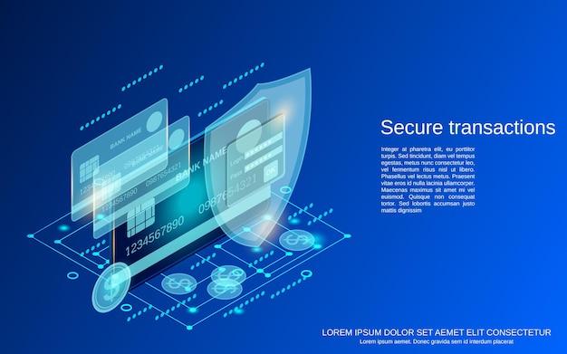 Illustrazione di concetto di vettore isometrico piatto 3d di transazione sicura
