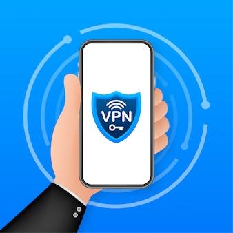 Concetto di connessione vpn sicura. panoramica della connettività di rete privata virtuale. illustrazione.