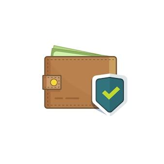 Portafoglio sicuro con denaro protetto con icona scudo isolata