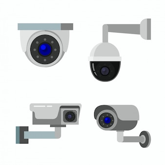 Illustrazione piana dell'icona del cctv della videocamera di sicurezza