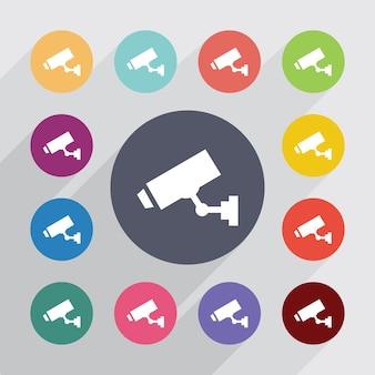 Cerchio della telecamera di sicurezza, set di icone piatte. bottoni colorati rotondi. vettore