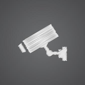 Icona di doodle del logo di schizzo della telecamera di sicurezza isolata su sfondo scuro