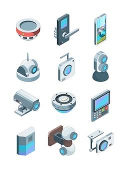 Telecamere di sicurezza. immagini isometriche di sorveglianza sicura del dispositivo del cctv della casa senza fili astuta dell'allarme isolate